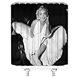 AMFD Marilyn Monroe Shower Curtain Classic Movie Style Sexy and Charming Bathroom Decor Polyester Fabric Waterproof Mildew Resistant Antibacterial 70 x 70 Inches Include Hooks Black White
