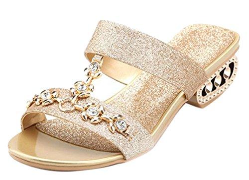 Women Shape Slide Rhinestone Bling Oncefirst Sandal I Gold 6ZxHdWwqp