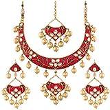 I Jewels Gold Plated Kundan Meenakari Necklace Jewellery Set for Women (M4084QG)