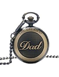 Retro Quartz Pocket Watch Japan Movement with Belt Clip Chain for Dad Bronze