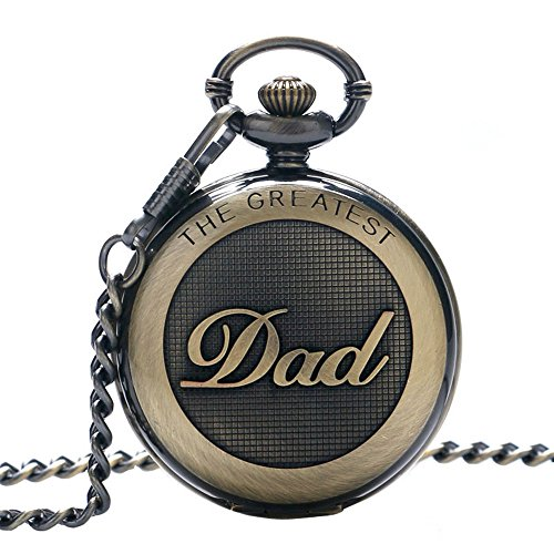 SwitchMe Retro Quartz Pocket Watch Japan Movement with Belt Clip Chain for Dad Bronze (Japan Movement)