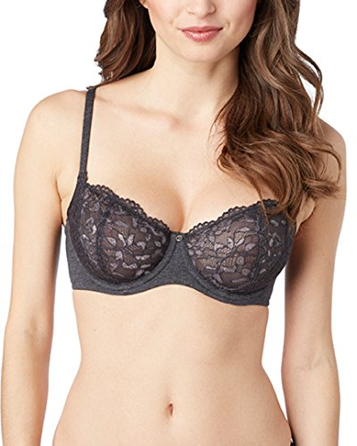 - Le Mystere Comfort Chic Balconette Bra, 36C, Black Heather