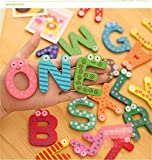 TickRight Wooden Multi Coloured Fridge Magnets Educational Toys - 26 Alphabets and 10 Digits Combo (Alphabets and Digits Combo)