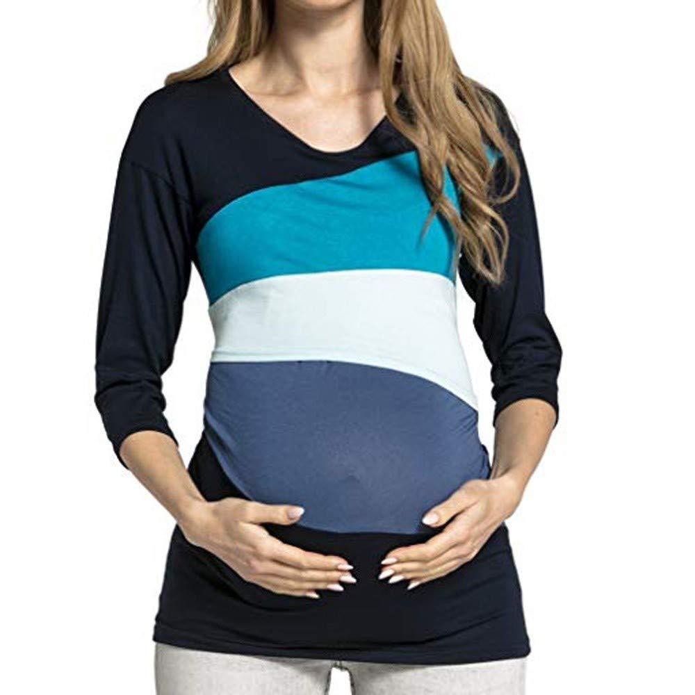 Women Breastfeeding T-Shirt Maternity Long Sleeve Layered Shirt Clothes Stitching Color Nursing Tops (XXL, Blue)