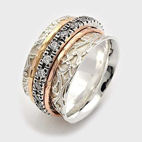 Clear Cubic Zirconia Rose and yellow Gold Spinner Wedding Ring Sizes 6-10