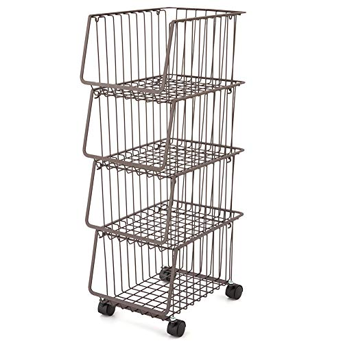 Open Wire Cart (EZOWare Metal Wire Baskets, 4-Tier Stackable Basket Organizer Bin Rolling Utility Cart Rack for Kitchen Pantry - Rustic Brown)