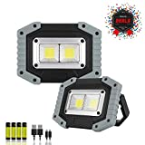Portable LED Work Light,XQOOL Rechargeable COB Work Lamp Waterproof LED Flood Light with Stand Built-in Power Bank Job Light for Indoor Outdoor Lighting (GRAY/2PACK)