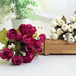 BYyushop Sweet Artificial Rosebud Bouquet Home Wedding Cloth Rose 15 Flowers on 1 Piece - White 4