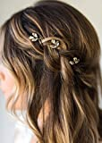 Kercisbeauty Simple Handmade Bridal Bridesmaids Flower Girl Simple Gold Silver Leaf Leaves Bridal Bohemian Hair Pins Headpiece for Wedding and Party,Long Curly Bun Hair Accessories,Wedding Vintage Rhinestone and Beads Hairpins Bridal Flower Girl Gold Hair Pins(Set of 5) (Gold)