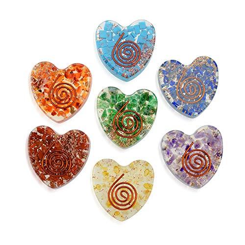 Orgone Chakra Set of 7- Chakra Meditation -Energy Balance - Sleep Aid - EMF Protection Heart Shaped Spiritual Healing Stone Kit Healing Crystal Set Peace of Mind Chakra Balancing