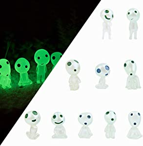 Linestereder Garden Statue, Garden Gnome Statue Figurine, 10 PCS Princess Mononoke Tree Spirit Luminous Outdoor Lawn Decor Gardening Potted Decoration Figurine for Patio, Balcony, Yard, Lawn Ornament