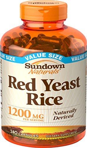 Sundown Naturals Red Yeast Rice 1200 mg, 240 Capsules - Buy Packs and Save (Pack of 2)