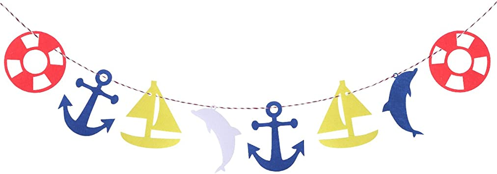 Tinksky Estilo mediterráneo del verano Dormitorio de los niños Bandera de la guirnalda Ancla del barco de navegación Dolphin Soccer Bunting Bandera Decoración de la fiesta de cumpleaños de los niños: Amazon.es: