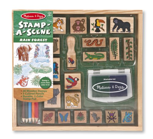 Melissa & Doug Stamp-a-Scene Stamp Set: Rain Forest - 20 Wooden Stamps, 5 Colored Pencils, and 2-Color Stamp Pad