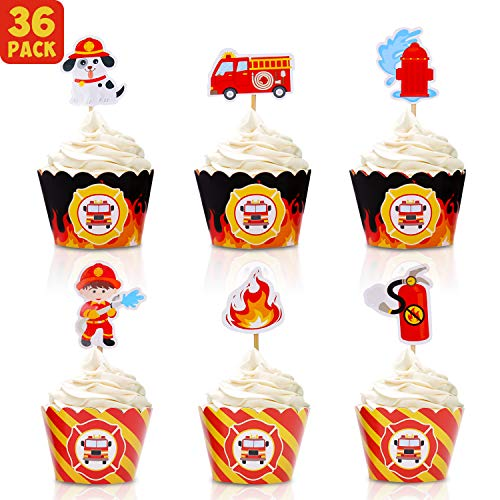 Fire Truck Cupcakes (Bessmoso 36 Pack Fire Truck Cupcake Toppers & Adjustable Cupcake Wrappers Perfect for Baby Shower or Firefighter Fireman Fire Truck Theme Birthday Party Decorations)