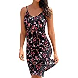 iTLOTL Women Halter Neck Boho Print Sleeveless Casual Mini Beachwear Dress Sundress