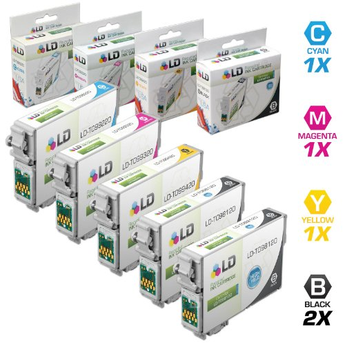 LD Remanufactured Replacements for T098/T099 Set of 5 High Yield Ink Cartridges Includes: 2 Black T098120, 1 Cyan T099220, 1 Magenta T099320, 1 Yellow T099420 for use in Artisan Printers