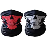 HAMIST Couples Seamless Skull Face Tube Mask Black&Red