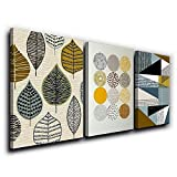 SkywardArt Canvas Art Simple Life Green Mordern Abstract Leaf Painting Wall Art Decor 12'' x 16'' 3 Pieces Framed Canvas Prints Pattern Giclee with Frame Ready to Hang for Home Decoration