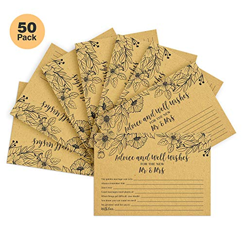 50 Wedding Advice Cards | Fun Wedding Guest Book Alternative | Great Way for Guests to Share Marriage Advice With The Couple | Made with Real Kraft Paper For Rustic, Shabby Chic Feel