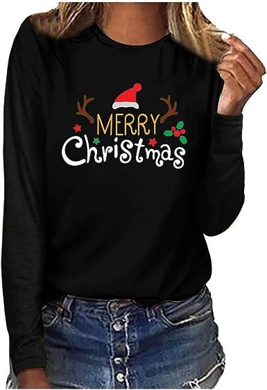 Blusa de Cuello Redondo con Estampado de Feliz Navidad para Mujer SUNNSEAN Tops Casuales Blusa de Manga Larga Túnica 2019 Camisa Mujer Blusas Moda Gráfica Linda Camisetas Mujer Blusa: Amazon.es: Ropa y