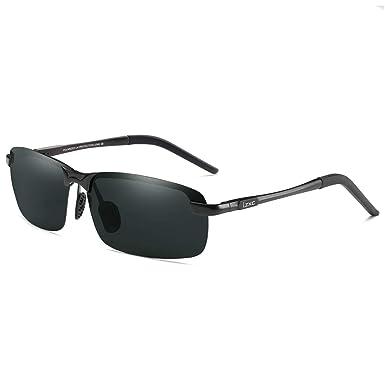 9810e466b5 LZXC Polarized Driving Sunglasses Men Outdoor Sport Eyewear Unbreakable  Spring Hinge Adjustable Ultra-Light AL-MG Frame Black Frame Black Lens  ...