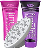 Cellulite Cream & Anti Cellulite Massager | AM PM DUO with 4X Caffeine Formula | Skin Tightening, Firming, Toner & Hydrating within 4-8 weeks | (Non Pinching) Shower Hand Grip | 3 Piece Set Treatment