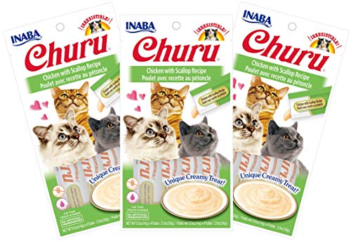 INABA Churu Chicken with Scallop Recipe Lickable Purée Natural Cat Treats 12 Tubes
