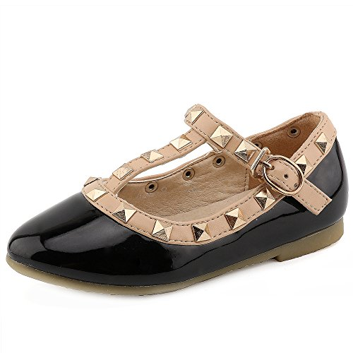 Little Kid Baby Girl Studded T-Strap Flat Shoes for Child(G358-black-33) ()