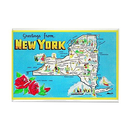 CafePress - New York Map Greetings Rectangle Magnet - Rectangle Magnet, 2