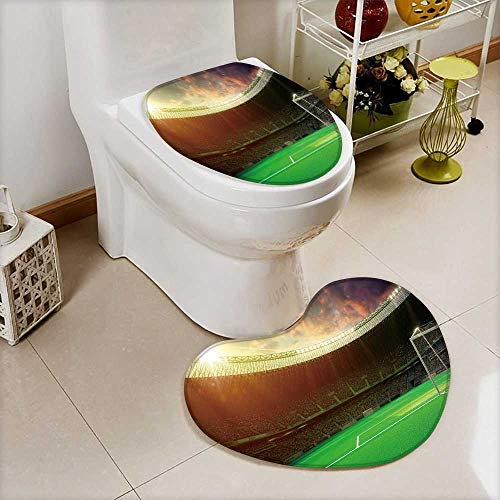 2 Piece Toilet mat set evening stadium arena soccer field 2 Piece Heart shaped foot pad set by Printsonne