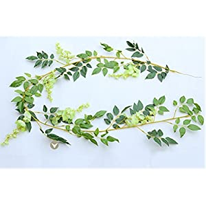 HappySUN 2 Pieces 6.6ft Artificial Flower Ivy Silk Wisteria Flower Vine Green Leaf Hanging Vine Garland for Wedding Party Home Garden Outdoor Ceremony Arch Floral Decor 74