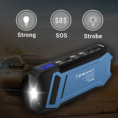 Renogy 400A Peak 12000 mAh Car Jump Starter Portable Durable Compact Charger with 3 USB Ports 3 Modes Emergency LED Flashlight Power Bank for iPhone iPad iPod Samaung Galaxy 5L Petrol 3L Diesel Engine by Renogy (Image #3)