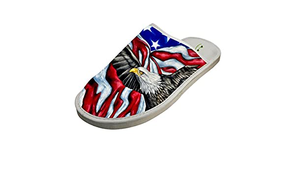 7f804872b91f Amazon.com  Slippers with American Flag Bald Eagle 3D Print Indoor Sandals  Soft Shoes Flat House Flip Flops  Clothing