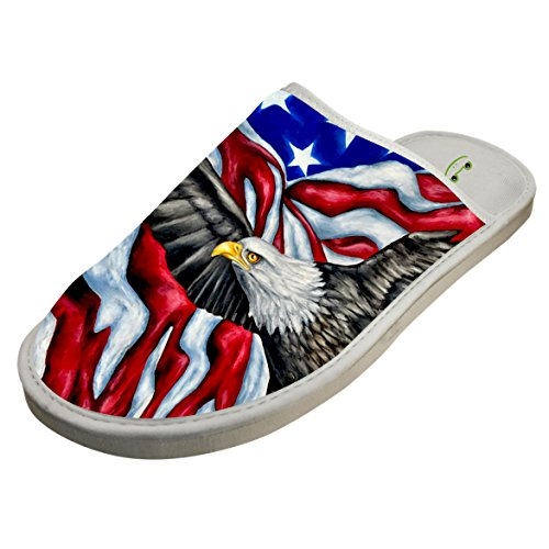 Slippers with American Flag Bald Eagle Original Indoor Sandals Soft Shoes Flat House Flip Flops 11 by JLL-HITOLY