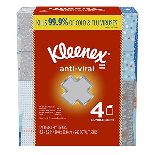Kleenex Anti-Viral Facial Tissues, 4 Cube Boxes, 60 Tissues per Box (240 Tissues Total)