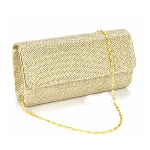 (ELEOPTION Bling Shiny Women's Evening Bags and Clutches Wedding Ball Prom Wallet Handbag for Wedding Party Best Gift (Gold))