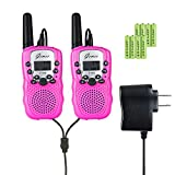 Kids Walkie-Talkies - GEMEE UHF462-467MHz 22 Channel FRS/GMRS Two-Way Radios with Rechargable Batteries and a Charger 1 Pair- 2 Pcs ( Pack of 2, Pink )