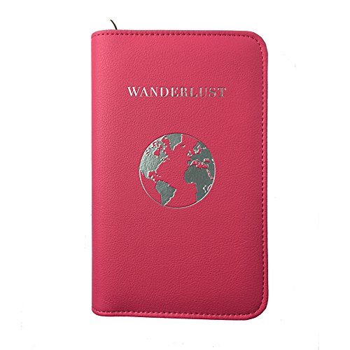 Phone Charging Passport Holder -Multiple Variations with Upgraded Power Bank- RFID Blocking - Travel Wallet Compatible with All Phones - Travel Accessories (Fuchsia)
