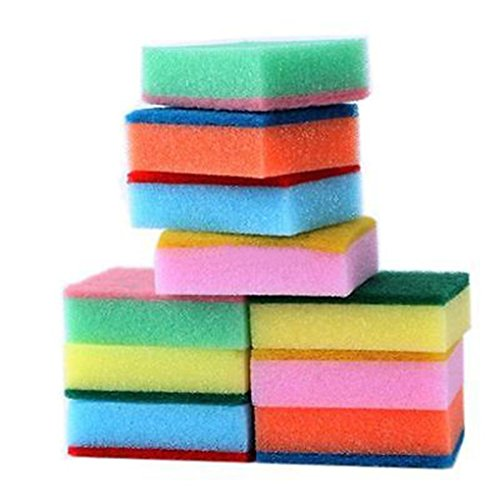 Iuhan New 10PCS Cleaning Sponges Universal Sponge Brush Set Kitchen Cleaning Tools Helper ( Color Random )