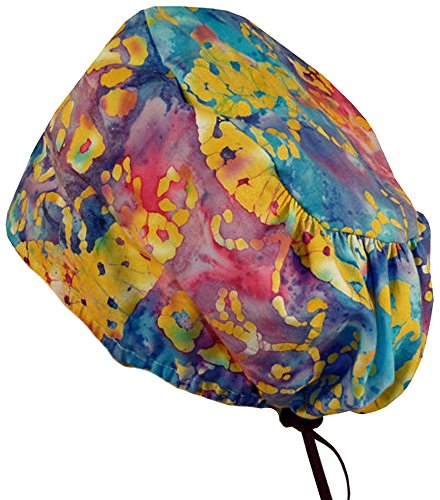 Riley Medical Scrub Caps - Butterflies On Rainbow Batik #23 Rainbow Batiks