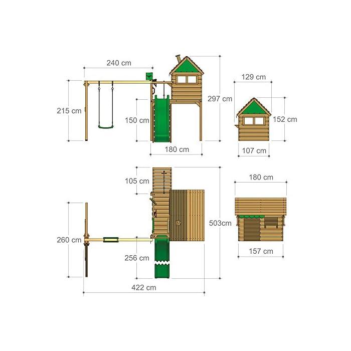 51WXenQowyL XXL Torre de juego en un diseño colorido con un columpio doble y un conjunto completo de accesorios 10 años de garantía* para todos los elementos de madera - Viga de columpio de 9x9cm, postes verticales de 7x7cm Madera maciza impregnada en clave, de fácil mantenimiento - Instrucciones de montaje sencillas y detalladas