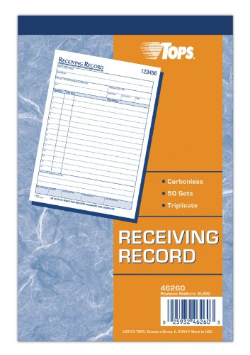 TOPS Receiving Record Book, 3-Part, Carbonless, 50 Sets per Book (TOP46260)