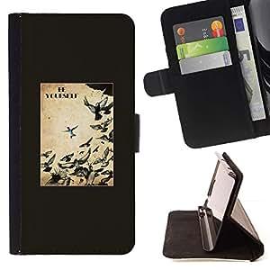 For Sony Xperia Z1 L39 Case , Aves Libertad Texto libre Negro- la tarjeta de Crédito Slots PU Funda de cuero Monedero caso cubierta de piel