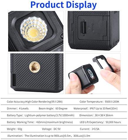 Pro Mini LED Video Light Waterproof W 20 Filtres de Couleur pour GoPro, Appareils Photo, Poche OSMO, Action OSMO, Prize de Vue DSLR Prize de Vue créative Éclairage Rechargeable