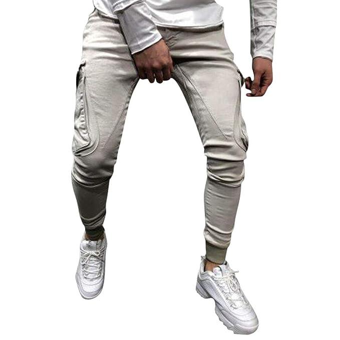 KEoly - Pantalones de Hombre Cargo con múltiples Bolsillos ...