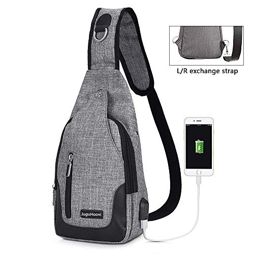 JuguHoovi Sling Bag, Casual Crossbody Purse Chest Bag Shoulder Backpack, Crossbody Bags for Men Women Travel Outdoor (with USB Charging Port)