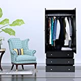 Kinbor Two Door Wardrobe Cabinet Armoire, with Three Drawers, and Hanging Rod (black)