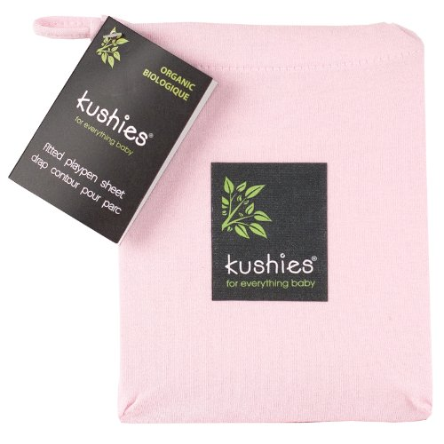 Kushies Organic Jersey Play Pen Fitted Sheet, Light Pink