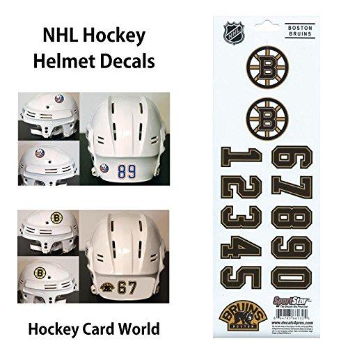 Stickers Hockey Helmet - (HCW) Boston Bruins SportsStar NHL Hockey Helmet Decals Sticker Sheet